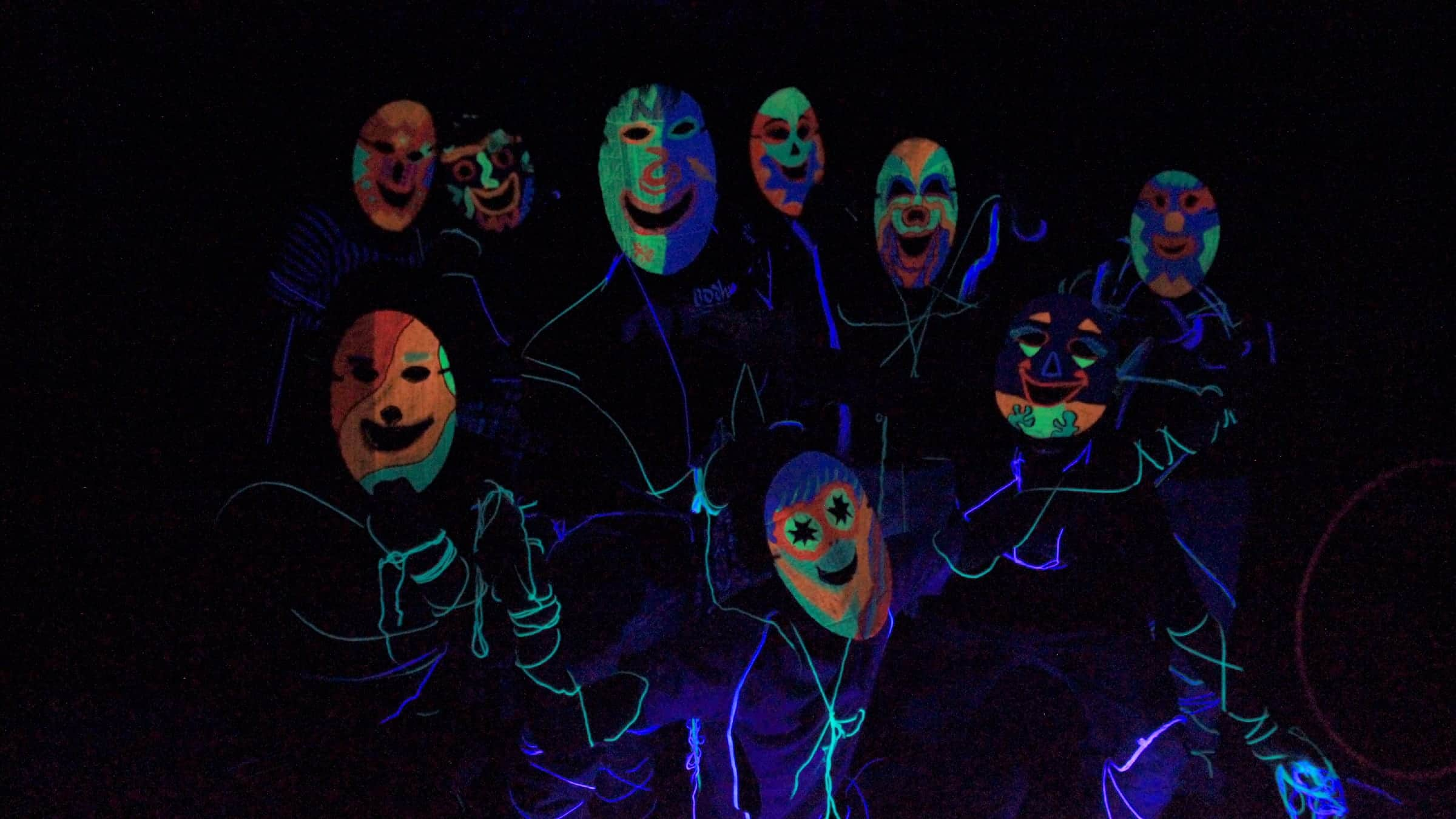 Funky neon party with masks